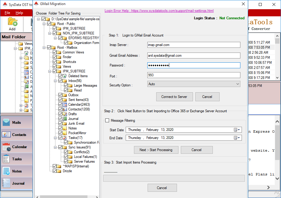 Import OST to Exchange Server Account