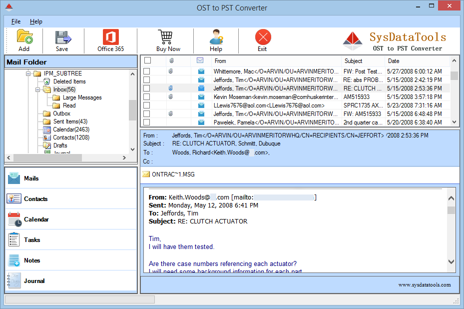 SysData OST Conversion Tool full screenshot